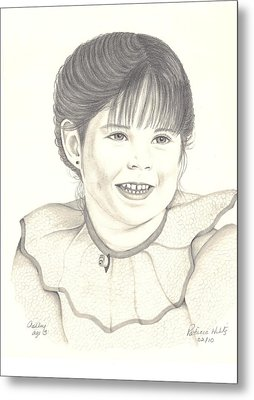 Metal Print featuring the drawing My Little Girl by Patricia Hiltz