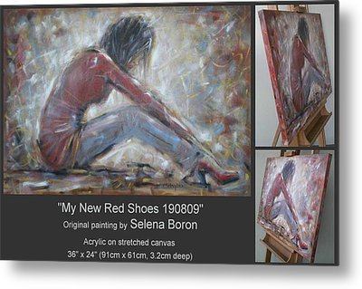 Metal Print featuring the painting My New Red Shoes 190809 by Selena Boron