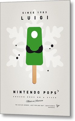 My Nintendo Ice Pop - Luigi Metal Print by Chungkong Art