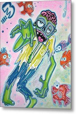 My Pet Zombie #3 / Fish Bait Metal Print by Laura Barbosa