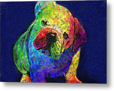 My Psychedelic Bulldog Metal Print by Jane Schnetlage