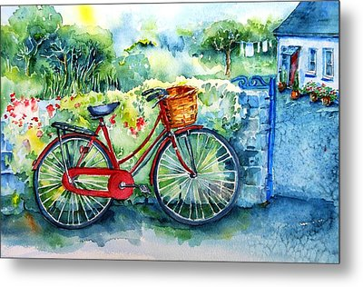My Red Bicycle Metal Print by Trudi Doyle