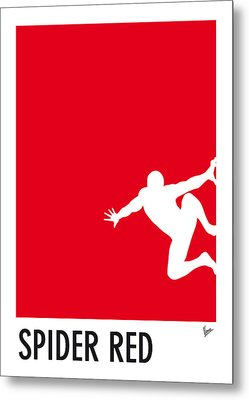 My Superhero 04 Spider Red Minimal Poster Metal Print