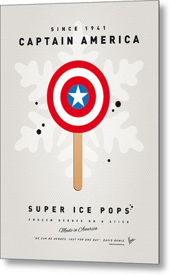 My Superhero Ice Pop - Captain America Metal Print by Chungkong Art