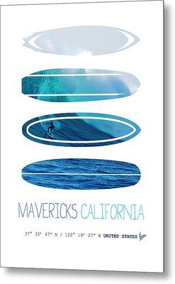 My Surfspots Poster-2-mavericks-california Metal Print