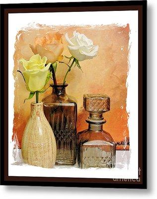 My Three Roses Still Life Metal Print by Marsha Heiken