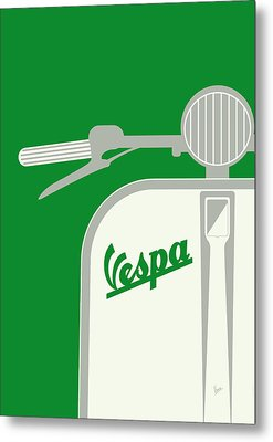 My Vespa - From Italy With Love - Green Metal Print by Chungkong Art