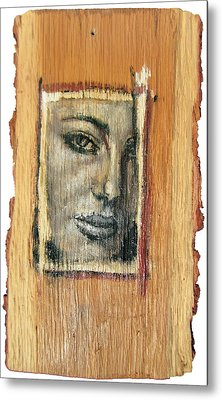 Mysterious Girl Face Portrait - Painting On The Wood Metal Print by Nenad Cerovic