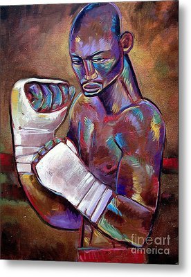 Metal Print featuring the painting Mystery Boxer by Robert Phelps