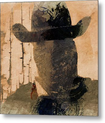 Metal Print featuring the photograph Mysterious Cowboy  by Aaron Berg