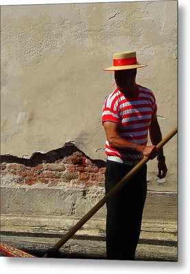 Metal Print featuring the photograph Mystery Gondolier by Ramona Johnston