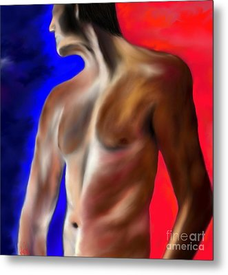 Metal Print featuring the painting Mystery Of A Man by Lori  Lovetere