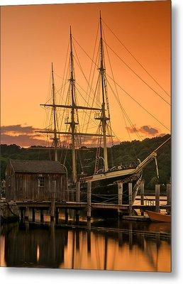 Mystic Seaport Sunset-joseph Conrad Tallship 1882 Metal Print