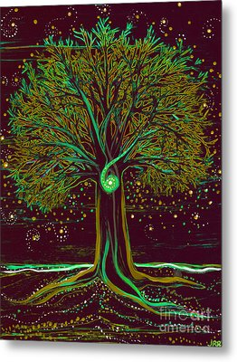 Mystic Spiral Tree  Green By Jrr Metal Print