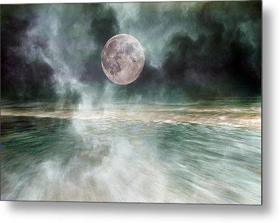 Mystical Beach Moon Metal Print