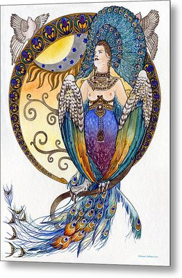 Mythological Bird-woman Gamayun - Elena Yakubovich Metal Print by Elena Yakubovich