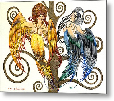 Mythological Birds-women Alconost And Sirin- Elena Yakubovich  Metal Print by Elena Yakubovich