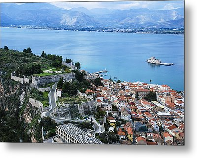 Nafplio And Argolic Gulf Metal Print by David Waldo