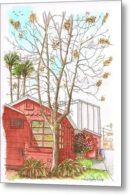 Naked Tree And Brown House In Cahuenga Blvd., Hollywood, California Metal Print by Carlos G Groppa