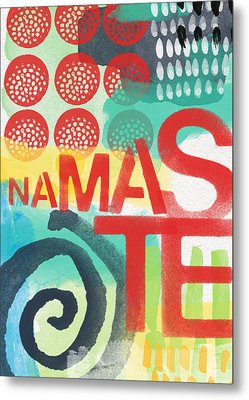 Namaste- Contemporary Abstract Art Metal Print by Linda Woods