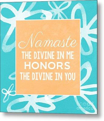 Namaste Watercolor Flowers- Blue Metal Print by Linda Woods