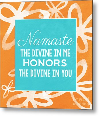 Namaste Watercolor Flowers Metal Print by Linda Woods