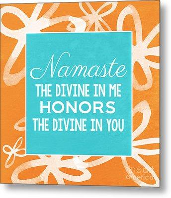 Namaste Watercolor Flowers Metal Print by Linda Woods