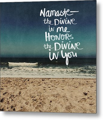 Namaste Waves  Metal Print by Linda Woods