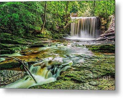 Nant Mill Waterfall Metal Print by Adrian Evans