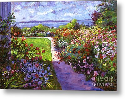 Nantucket Island Garden Metal Print by David Lloyd Glover