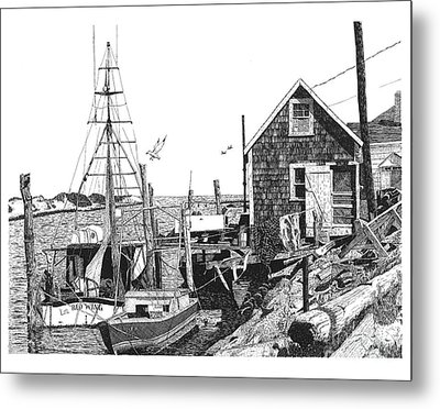Nantucket Wharf Metal Print by Paul Kmiotek