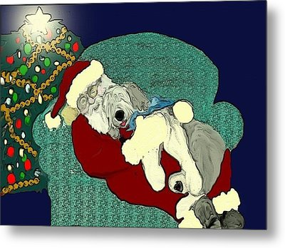 Nap With Santa Metal Print