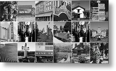 Napa Sonoma County Wine Country 20140906 Black And White Metal Print by Wingsdomain Art and Photography
