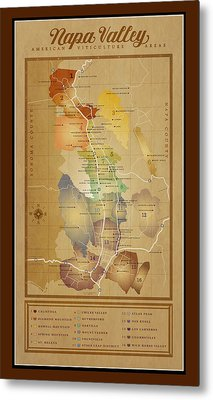 Napa Valley Ava Map Metal Print by Marc Bell