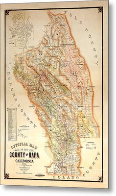 Napa Valley Map 1895 Metal Print by Jon Neidert