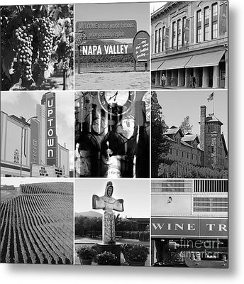 Napa Valley Wine Country 20140905 Black And White Metal Print