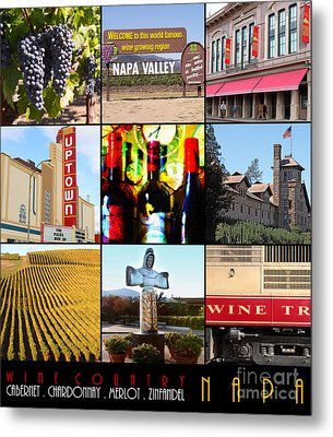 Napa Valley Wine Country 20140905 With Text Metal Print by Wingsdomain Art and Photography
