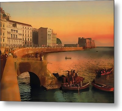 Metal Print featuring the painting Naples Italy 1920 by Douglas MooreZart