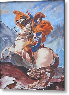 Napoleon On A Horse In The Alps Metal Print by Renate Pampel