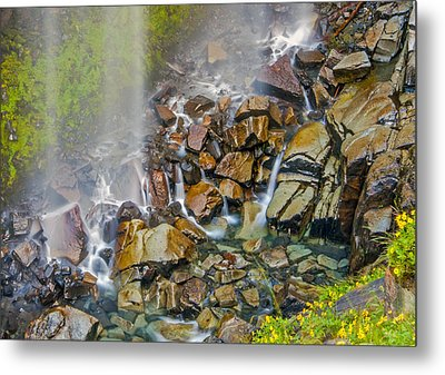 Narada Falls Mount Rainier National Park Metal Print by Bob Noble Photography