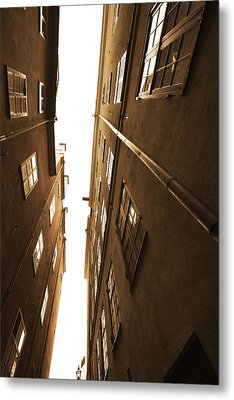 Narrow Alley Seen From Below - Sepia Metal Print by Ulrich Kunst And Bettina Scheidulin