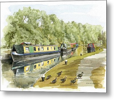 Narrow Boats On The Grand Union Canal Metal Print
