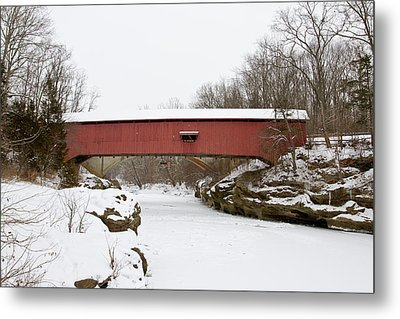 Narrow Covered Bridge In Winter, Turkey Metal Print by Panoramic Images