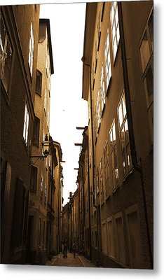 Narrow Medieval Street - Monochrome Metal Print by Ulrich Kunst And Bettina Scheidulin