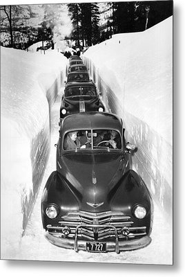 Narrow Winter Road Metal Print