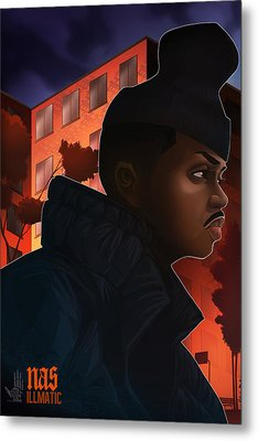 Metal Print featuring the drawing Nas Illmatic by Nelson  Dedos Garcia