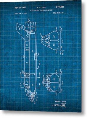 Nasa Space Shuttle Vintage Patent Diagram Blueprint Metal Print