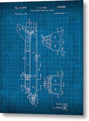 Nasa Space Shuttle Vintage Patent Diagram Blueprint Metal Print by Design Turnpike