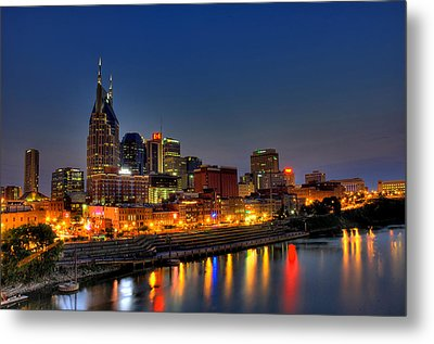 Nashville Lit Up Metal Print by Zachary Cox