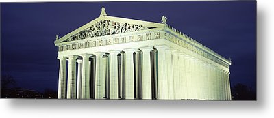 Nashville Parthenon At Night Metal Print by Panoramic Images